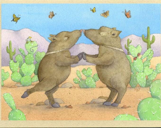 Javelinas Kissing (Heartfelt Javelinas) Greeting Card