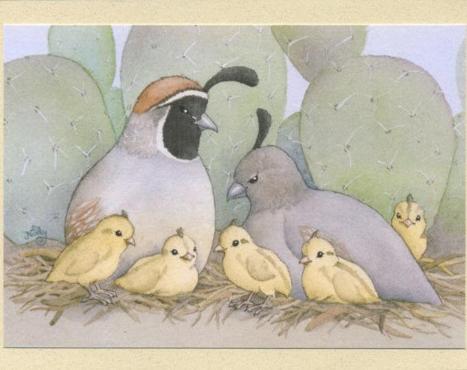Quail Family (Sweet, Happy Life) Greeting Card