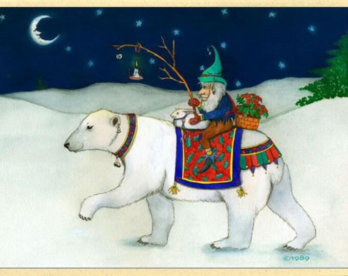 Elf on a Polar Bear (A Winters Journey)  Card