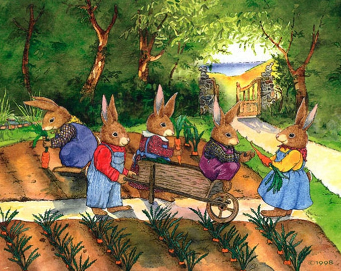 Rabbits (Garden Party) Matted Print