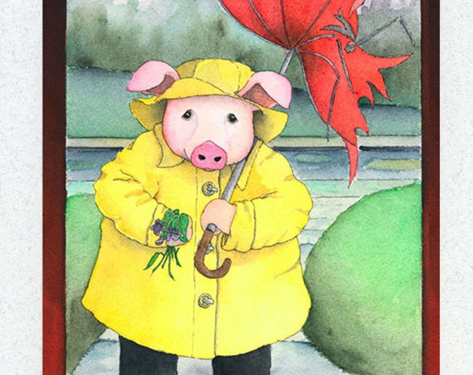 Pig in the Rain (I Really Wanted to See You) Greeting Card
