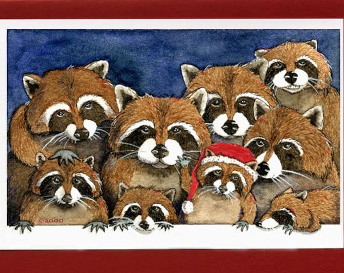 Raccoon Family Christmas Card