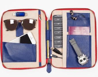 LEATHER TRAVEL WALLET Personalized (medium) (royal blue) iPad Mini Kindle folio passport holder document organiser organizer portfolio cover