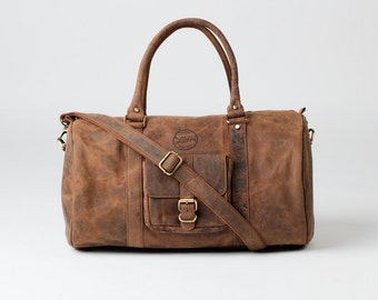 LEATHER DUFFLE BAG - Vintage style brown leather holdall duffel weekend bag carry on flight luggage gift