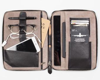 LEATHER FOLIO Personalized (large) (black) - holds iPad Pro 9.7 iPad Air Moleskine Notebook - work portfolio cover document organizer folder