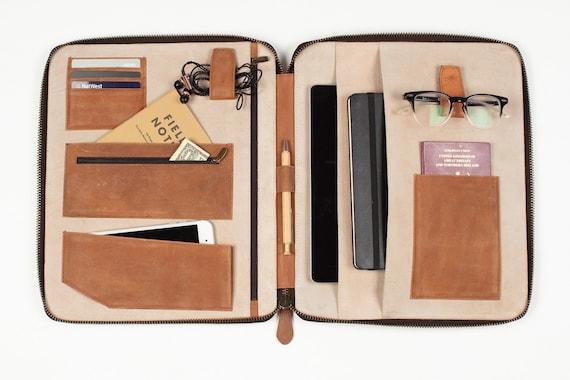 507b120b9a Leather TRAVEL WALLET ORGANIZER (xl) Personalized A4-size iPad Pro folio  passport holder document organiser portfolio cover real genuine
