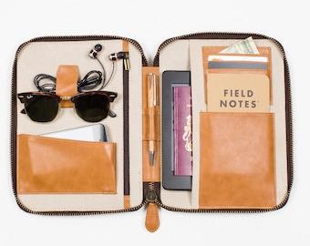 VEGAN LEATHER Travel Wallet - Medium - Vintage Tan - iPad Mini Kindle folio passport holder document organiser organizer portfolio brown