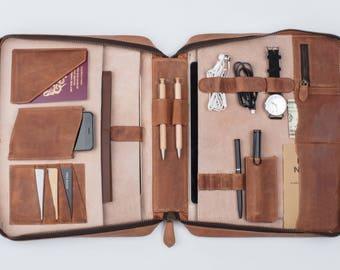 LEATHER ATTACHÉ ORGANIZER Travel Wallet Personalized (tan) A4-size iPad Pro laptop passport holder briefcase document portfolio