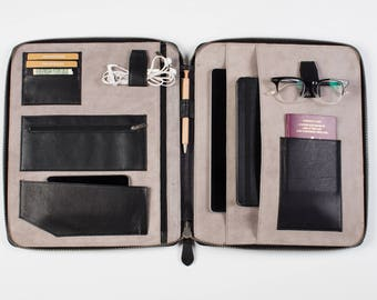Leather TRAVEL WALLET ORGANIZER Personalized black (xl) A4-size iPad Pro folio passport holder document organiser portfolio cover real