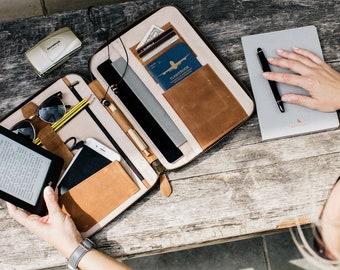 LEATHER TRAVEL WALLET Personalized (large) iPad Air folio passport holder document organiser organizer portfolio cover real genuine
