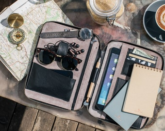 LEATHER TRAVEL WALLET Personalized (medium) (black) iPad Mini Kindle folio passport holder document organiser organizer portfolio cover real