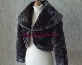 Dark Grey Faux Fur Bolero Jacket//Shrug//Wrap Large Collar Wedding Long Sleeves