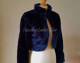 Navy Blue Long Sleeved Faux Fur Bolero / Shrug / Jacket / Shawl / Wrap / Weddings Satin Lining - UK 4-26