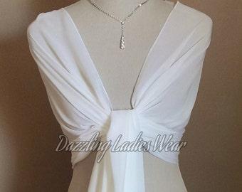 Light Ivory / Off White Large Chiffon Shawl / Wrap / Stole / Bolero / Shrug / Scarf / Pashmina  - Wedding/Bridal