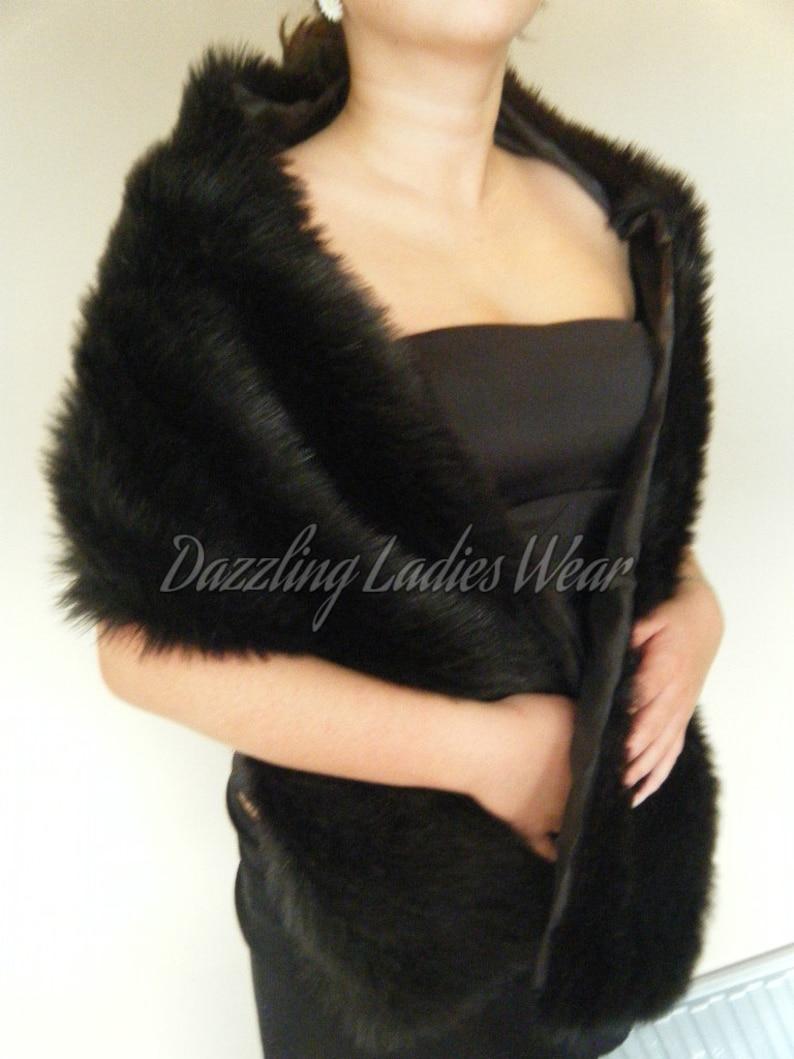 1920 s Style Black Faux Fur Shawl   Wrap   Stole   Bolero  72bdfd63cee0c