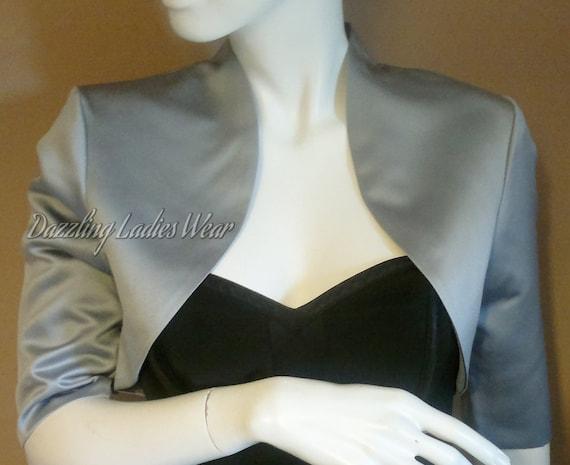 Sleeves FormalWeddingBridalProm Blue Satin Bolero  Shrug  Cropped Jacket Fully Lined UK 10