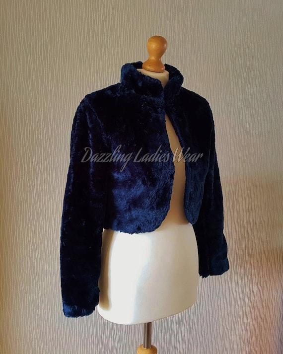 IVORY Faux Mink Fur Bolero Stole Jacket Coat Bridal XS-XXL