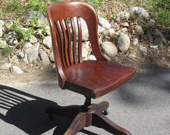 c1905 Sikes Office Chair Swivels Lawyer Banker Style Solid Quartersawn Oak **Shipping is NOT included. Contact us for a quote.**