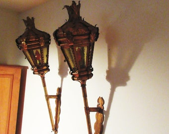 """Pair 42"""" Antique Italian Gold Lantern Wall Sconces 6 Glass Panels Handcrafted"""