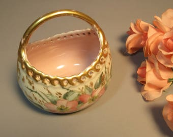 19th Century Porcelain Basket Flowers & Gold Reticulated Edge Bavaria or Austria