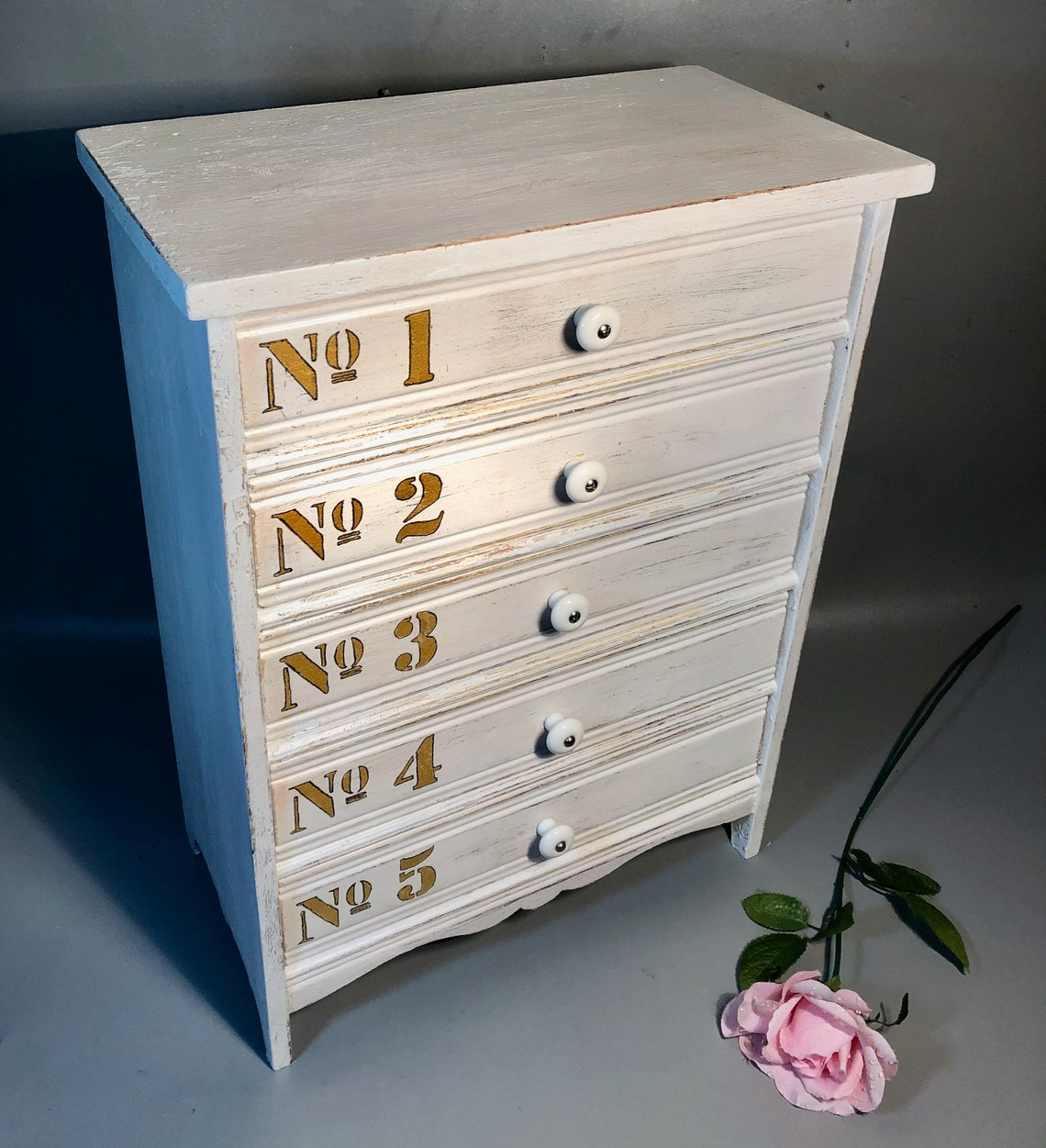"Small Rustic Chest Of 5 Drawers 21"" High Hand Painted w/Gold Numbers Shabby Chic Farmhouse"