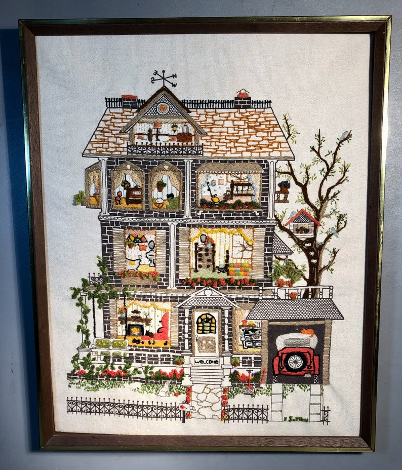 Vintage Crewelwork Embroidery Victorian House in 21x17 Frame Signed E.Sutton 1960