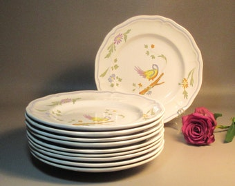 10 Longchamp LC Perouges Dinner Plates Hand Painted Bird Pattern Faience France