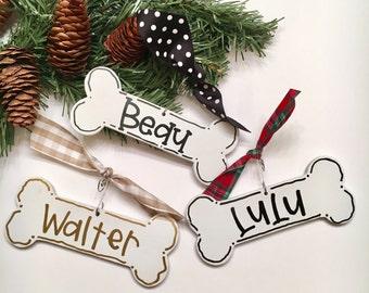 Dog bone personalized ornament