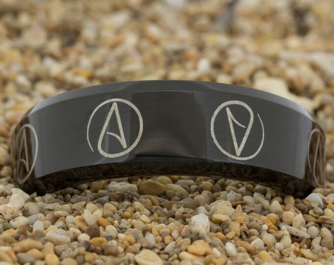 Tungsten Black Wedding Band (Free Inside Engraving) on a 8mm Black Bevel Tungsten Carbide comfort fit lasered Atheist design