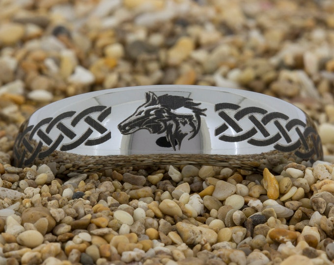 6mm Dome Tungsten Carbide Band Zelda Wolf Design Ring-Free Inside Engraving And Free US Shipping