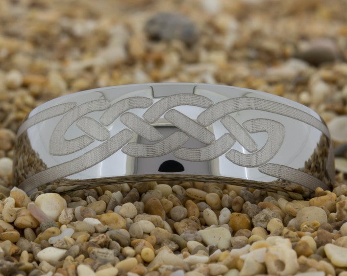 Mens Tungsten Ring (Free Inside Engraving) on a 8mm Dome Tungsten Carbide comfort fit white lasered Celtic Knot design