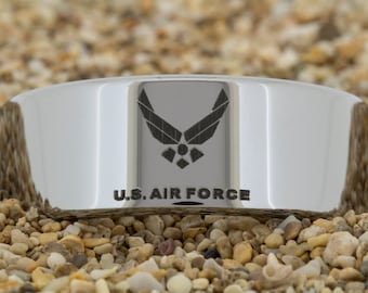 10mm Pipe Tungsten Carbide Band U.S. Air Force Design Ring-Free Inside Engraving And Free US Shipping