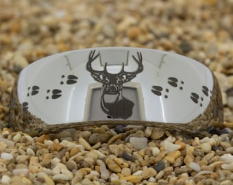 Custom listing  (Free Inside Engraving) on a 6mm Dome Tungsten Carbide comfort fit black lasered Deer Tacks Hunting design