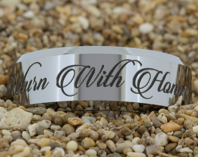 8mm Beveled Tungsten Carbide Band Return with Honor Design Ring-Free Inside Engraving And Free US Shipping