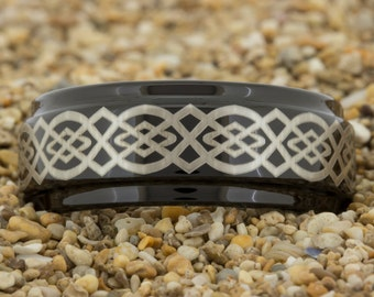 9mm 1 Step Pipe-Tungsten Celtic Knot , Tungsten Wedding Band, Black Tungsten Ring, Ring, Tungsten Carbide, Engagement Ring, Tungsten Band