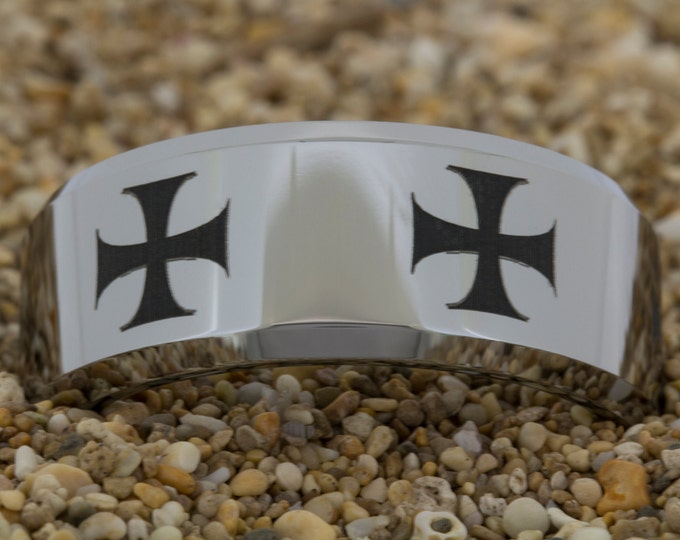 Tungsten (Free Inside Engraving) on a 10mm Beveled Tungsten Carbide comfort fit black lasered Maltese Cross design