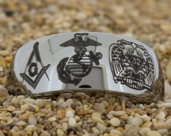 10mm Dome-Tungsten Masonic, Mens Tungsten Wedding Band, Black Tungsten Ring, Tungsten Carbide Ring, Engagement Ring, Free Inside Engraving