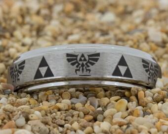 Tungsten Ring 6mm Pipe-Tungsten Zelda Design, Mens Black Wedding Jewelry, Tungsten Carbide Ring, Engagement Ring, Free Inside Engraving