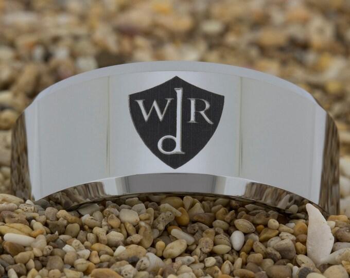Tungsten Carbide Wedding Band (Free Inside Engraving) on a 10mm Beveled Tungsten Carbide comfort fit black lasered German CRT design