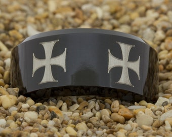 Biker Ring 10mm Black Beveled Tungsten Carbide Band Maltese Cross Design Ring-Free Inside Engraving And Free US Shipping