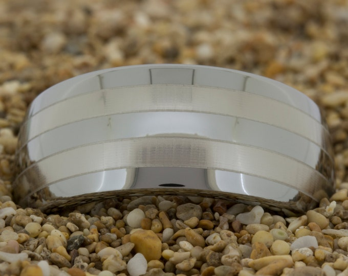 Tungsten Band (Free Inside Engraving) on a 10mm Dome Tungsten Carbide comfort fit 2-lasered Lines design