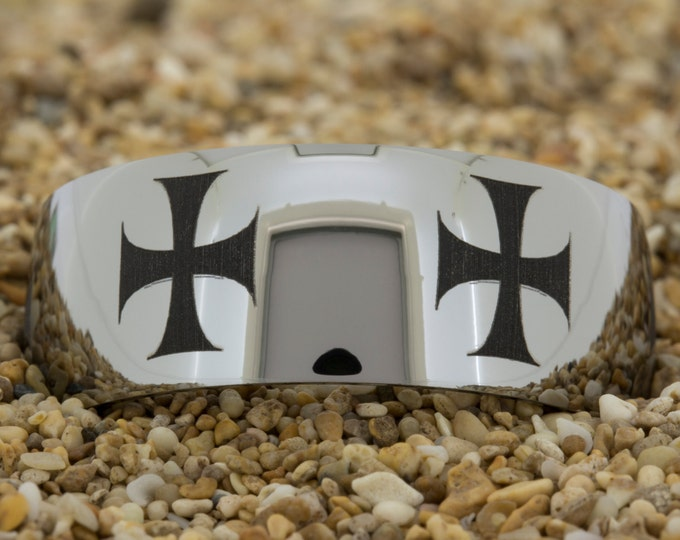 Tungsten (Free Inside Engraving) on a 10mm Dome Tungsten Carbide comfortfit black lasered Maltese Cross design evenly spaced around the ring