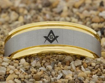 8mm Gold Pipe Satin Finish Tungsten Carbide Band Masonic Design Ring-Free Inside Engraving And Free US Shipping