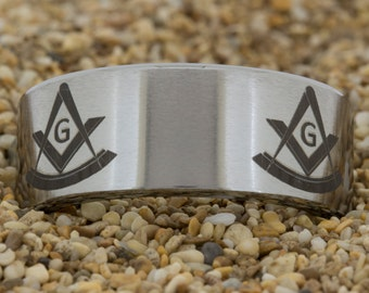 Tungsten Ring 10mm Pipe-Tungsten Masonic, Mens Tungsten Wedding Band, Tungsten Carbide Ring, Engagement Ring, Free Inside Engraving