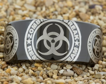 11mm Black Pipe Tungsten Carbide Band Zombie Outbreak Design Ring-Free Inside Engraving And Free US Shipping