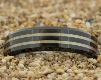 Men's Ring, Tungsten Wedding Band, Tungsten Ring, Jewelry, Ring, Black Tungsten Ring, Gold Tungsten Ring, Free Engraving, Free Shipping