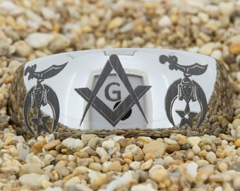 10mm Dome Tungsten Carbide Band Masonic Design Ring-Free Inside Engraving And Free US Shipping