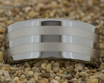 Tungsten Carbide Wedding Band (Free Inside Engraving) on a 10mm Pipe Tungsten Carbide comfort fit lasered Line design