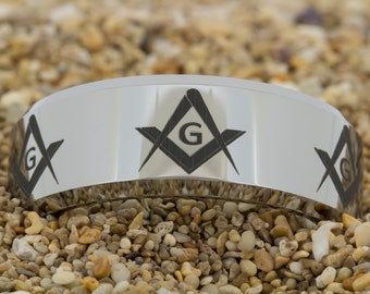 10mm Beveled-Tungsten Masonic, Mens Tungsten Wedding Band, Tungsten Ring, Tungsten Carbide Ring, Engagement Ring, Free Inside Engraving