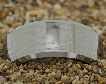 Mens Tungsten Ring (Free Inside Engraving) on a 10mm Beveled White Tungsten Carbide comfort fit white lasered Celtic design